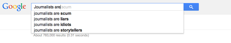 Google Autocomplete on journalists