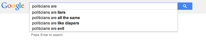 Google Autocomplete on politicians