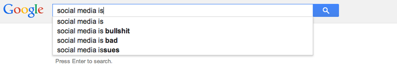 Google Autocomplete on social media